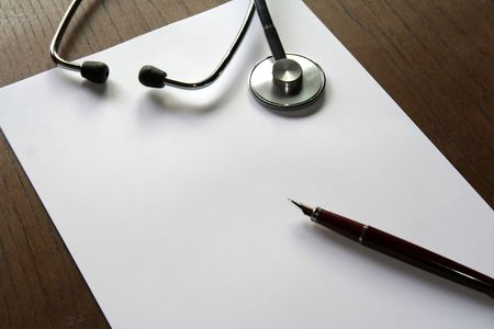 Prescription shhet, pen and scope Stock Photo - 478061