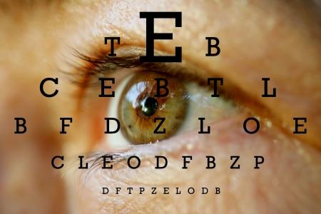 ein Auge mit Test-Vision-Chart  Standard-Bild