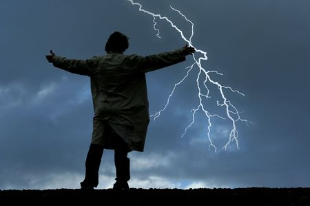 streak lightning: Man watching thunders on a stormy night
