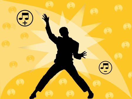 man dancing with yellow background Stock Photo