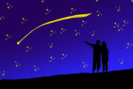 Young couple looking up together with sky background. Stock Photo