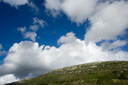 Mountain landscape - green filed, the blue sky and white clouds Stock Photo - 909800