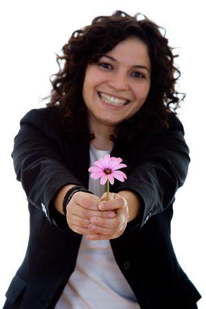 girl giving a flower