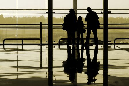 Family waiting at the international airport terminal Stock Photo - 909884
