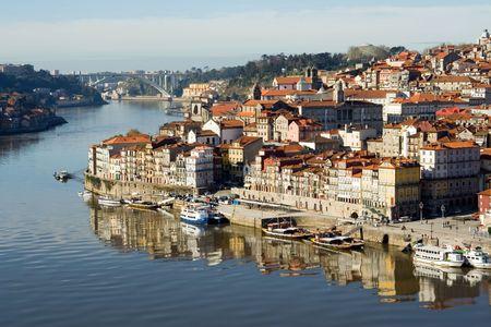 view of Douro river embankment of Porto city, Portugal