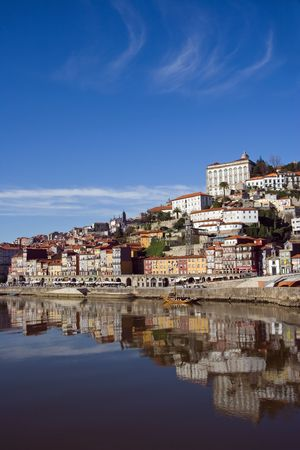 view of Douro river embankment of Porto city, Portugal photo