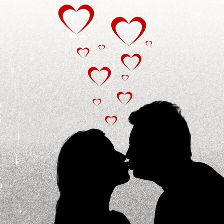 Silhouette couple kissing Stock Photo - 909899