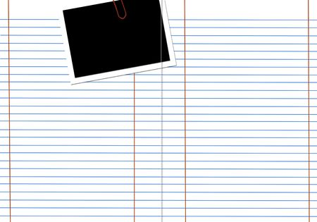 Blank white lined notebook page with a photo frame photo