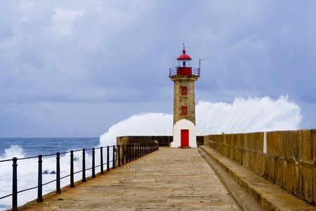 Roker lighthouse and pier after a storm