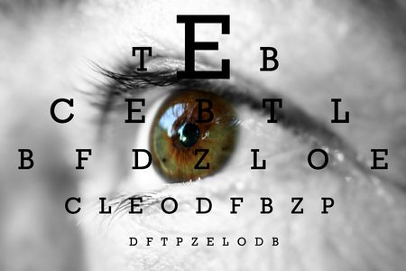human eye with test vision chart Stock Photo
