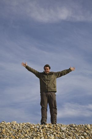 arms wide open: Man with his arms wide open Stock Photo