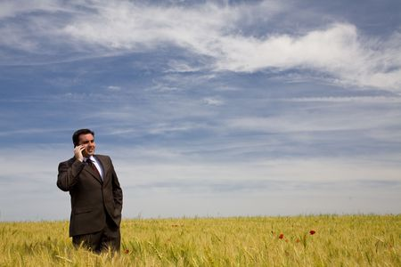 businessman at the phone in the field under blue sky photo