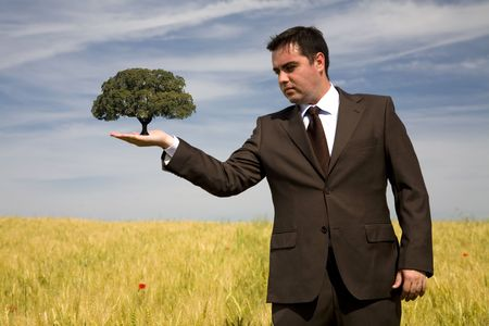 businessman holding a tree in the hand - environment concept - focus on the tree