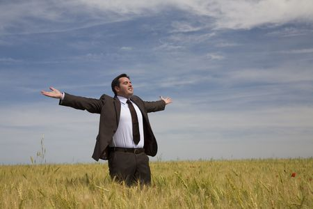 arms wide open: businessman with his arms wide open in rural field