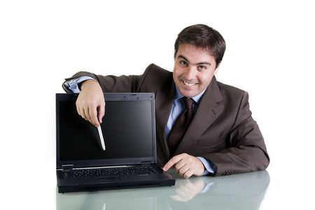 businessman with laptop computer isolated on white background Stock Photo - 3582957