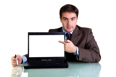 businessman with laptop computer isolated on white background photo