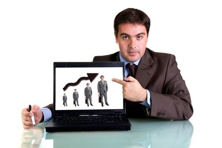 businessman with laptop computer isolated on white background Stock Photo - 3582963