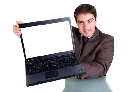 Businessman showing his laptop - focus on the face photo