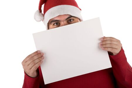 man wearing a red santa hat holding blank billboard Stock Photo - 3733611
