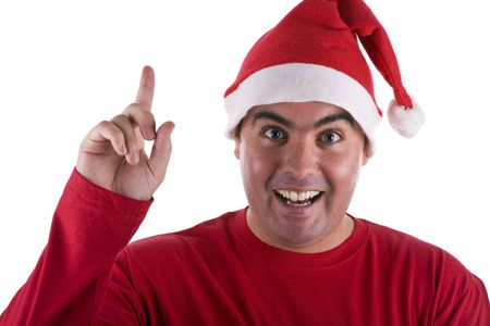 st nick: man with surprise expression wearing red santa hat