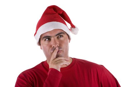 man wearing red Santa hat with full of thoughts expression  photo