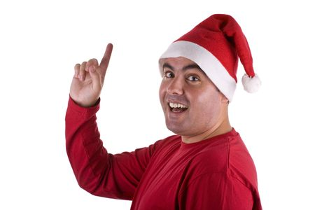 st  nick: man wearing red Santa hat with surprise expression