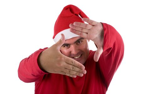 man wearing red Santa hat doing a photo frame with the hands Stock Photo - 3733617