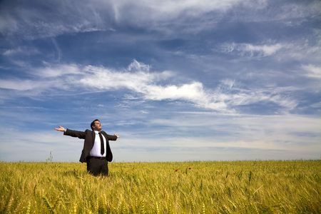 male arm: businessman with his arms wide open in rural field