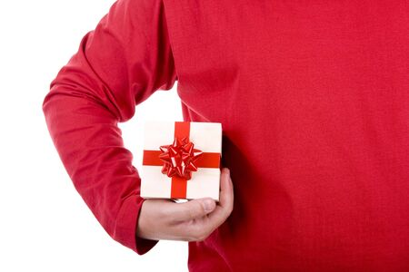 adult birthday party: man wearing red shirt holding a christmas gift box
