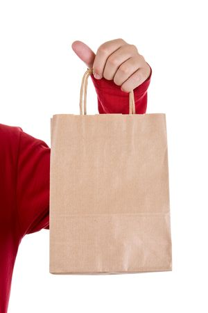 man hand holding papper bag isolated on white Stock Photo