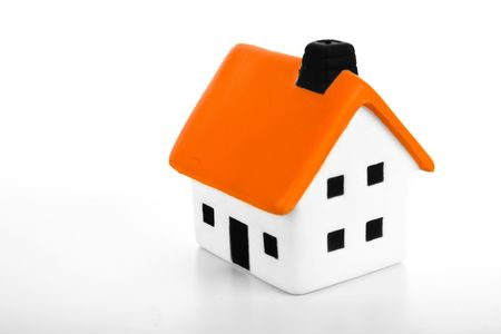 An isolated small house on white background Stock Photo - 3851373