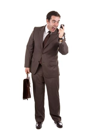 fatigued: Angry businessman yelling loud on the phone