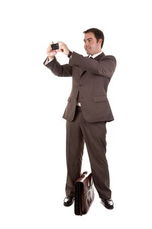 business man taking a photo with his camera phone photo