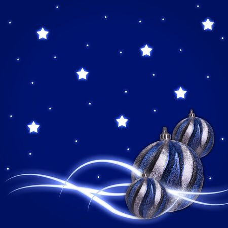 blue background with glow stars Christmas balls photo