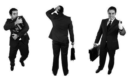 Businessmans. Black and white version. Isolated on white photo