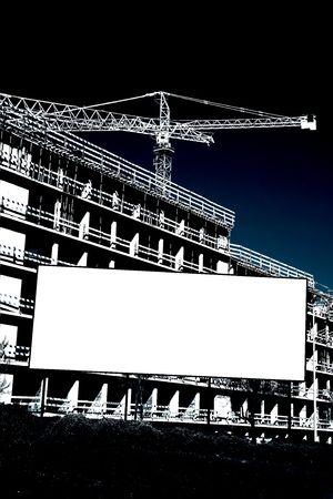 erect: Empty placard in front of construction work  Stock Photo