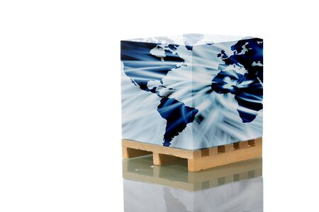 wooden shipping pallet with map world reflected