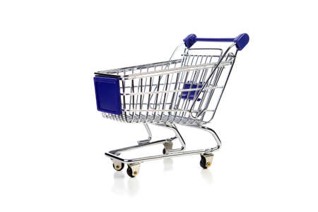 blue shopping cart over white background Stock Photo - 4797893