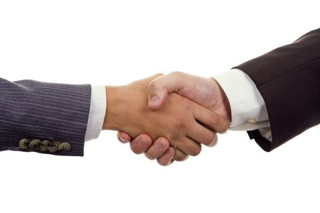 Business Hand shaking on a white background Stock Photo - 6718019