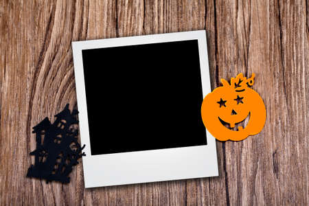 Photo with halloween icons over wood background Stock Photo