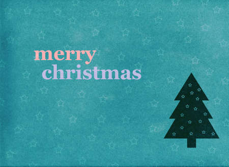 merry christmas postcard with a tree photo