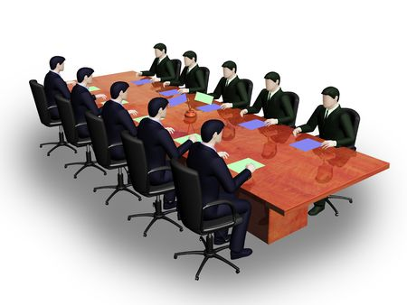afford: On 3d image two group of businessmans on informal business meeting