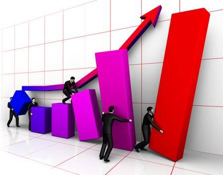 Group of businessmans bilding graph grow Stock Photo - 8812396