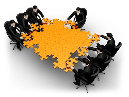 business metaphor: On 3d images team of businessmans search for solution     Stock Photo