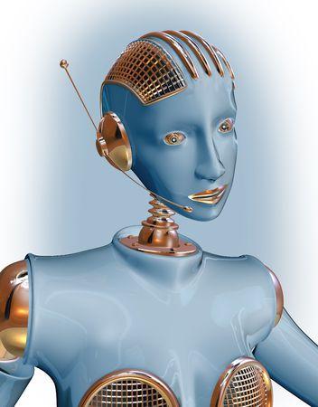 talking robot: Robot mujer llevando un auricular de televentas