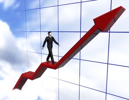 Render of graph businessmen walking red arrow in clouds photo