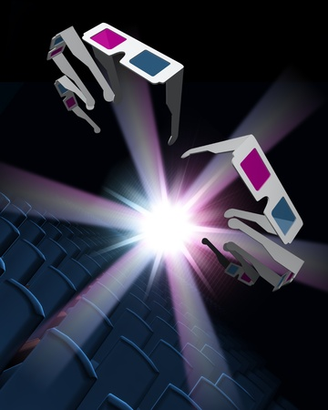 Abstract render of 3D glasses in cinema  photo