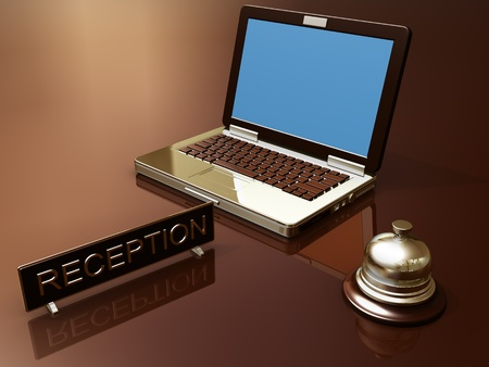 Render of desk reception and laptop photo