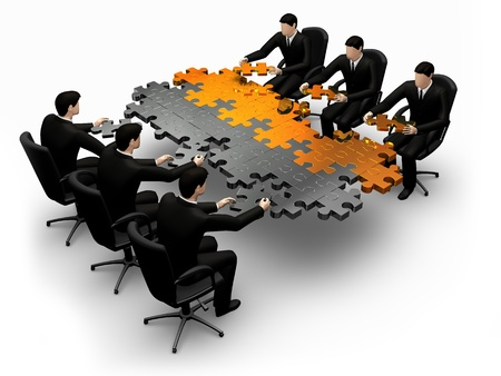 3D-business teamwerk gebouw een puzzel een witte