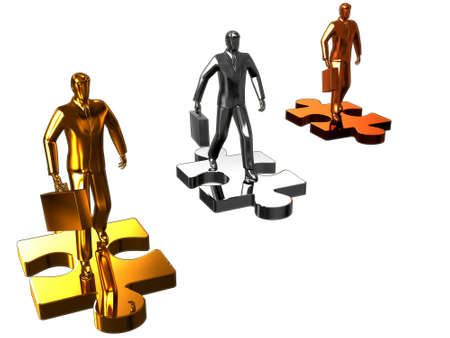Abstract render of gold and chrome businessman walk on puzzle. photo